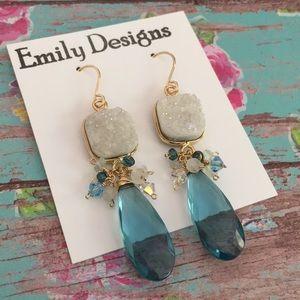 Aqua white fancy druzy earrings moonstone gold